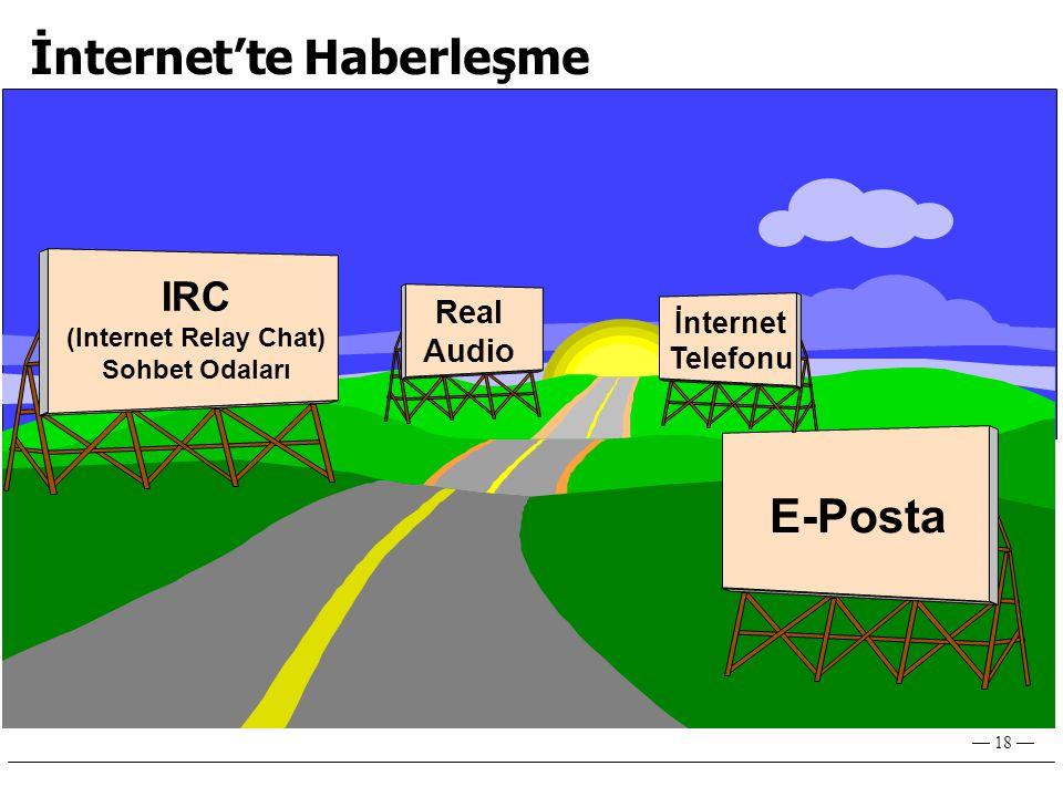 — 18 — İnternet'te Haberleşme E-Posta IRC (Internet Relay Chat) Sohbet Odaları Real Audio İnternet Telefonu