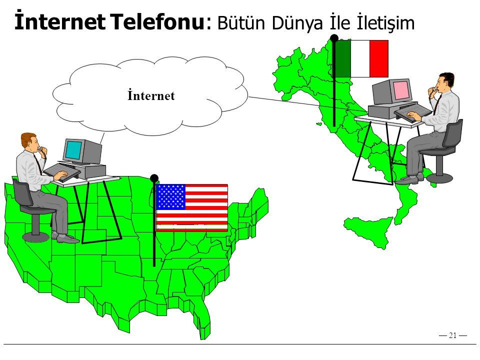 — 21 — İnternet Telefonu: Bütün Dünya İle İletişim İnternet