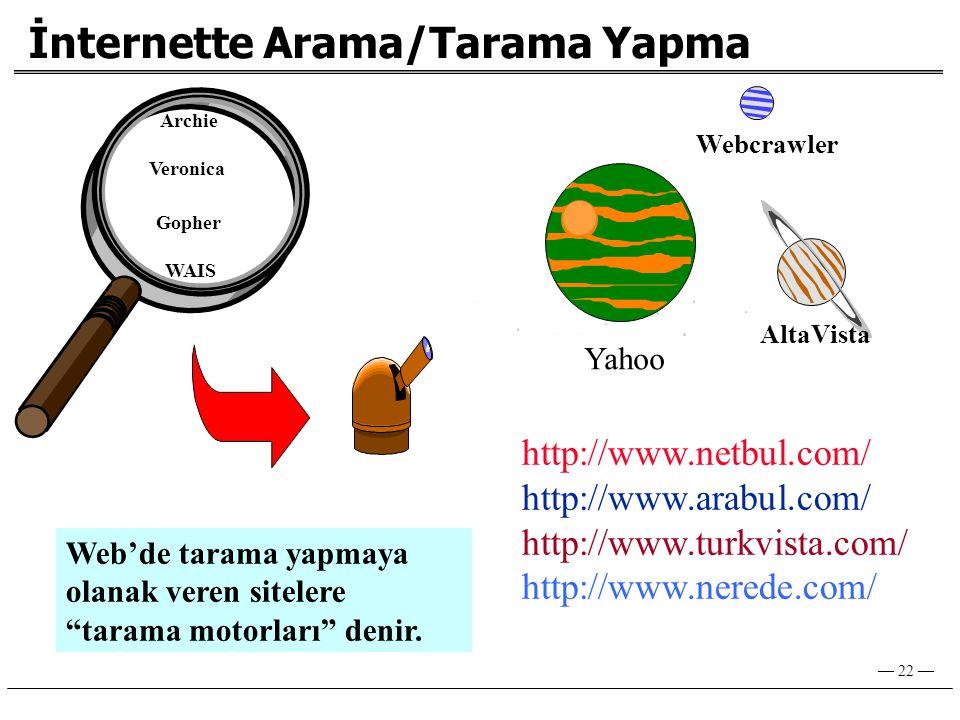 — 22 — İnternette Arama/Tarama Yapma Archie Veronica Gopher WAIS Yahoo AltaVista Webcrawler http://www.netbul.com/ http://www.arabul.com/ http://www.turkvista.com/ http://www.nerede.com/ Web'de tarama yapmaya olanak veren sitelere tarama motorları denir.