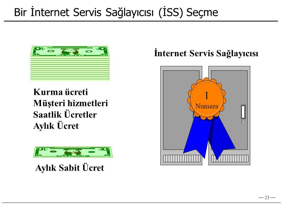 — 23 — Bir İnternet Servis Sağlayıcısı (İSS) Seçme İnternet Servis Sağlayıcısı 1 Numara Aylık Sabit Ücret Kurma ücreti Müşteri hizmetleri Saatlik Ücretler Aylık Ücret