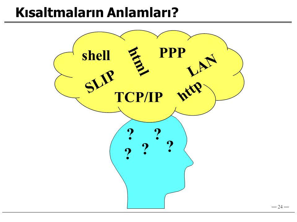 — 24 — SLIP html TCP/IP http PPP shell ? ? ? ? ? Kısaltmaların Anlamları? LAN