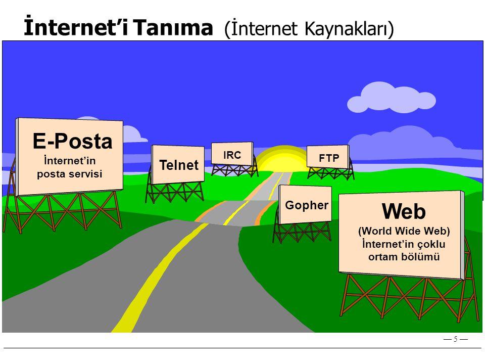 — 5 — İnternet'i Tanıma (İnternet Kaynakları) FTP Web (World Wide Web) İnternet'in çoklu ortam bölümü Telnet E-Posta İnternet'in posta servisi Gopher IRC