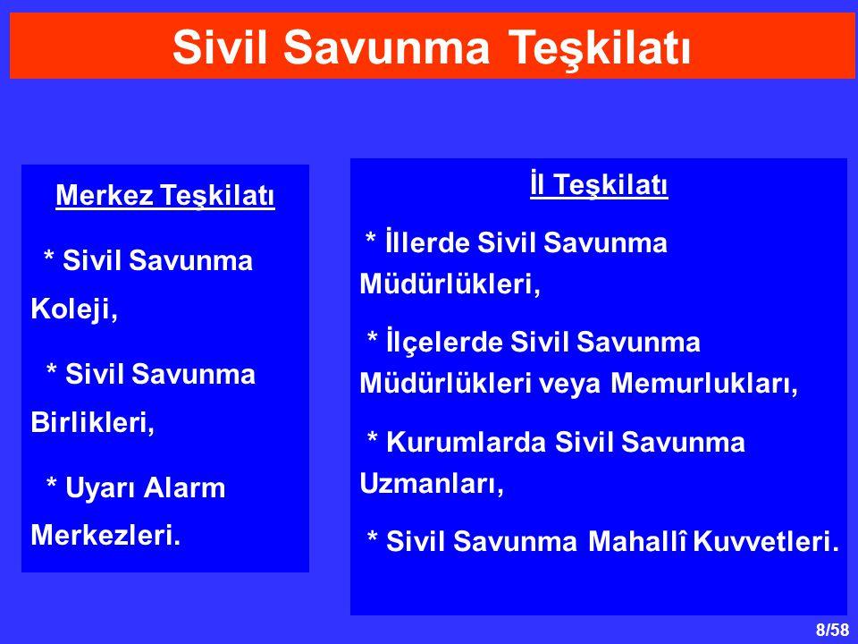 8/58 Sivil Savunma Teşkilatı İl Teşkilatı * İllerde Sivil Savunma Müdürlükleri, * İlçelerde Sivil Savunma Müdürlükleri veya Memurlukları, * Kurumlarda