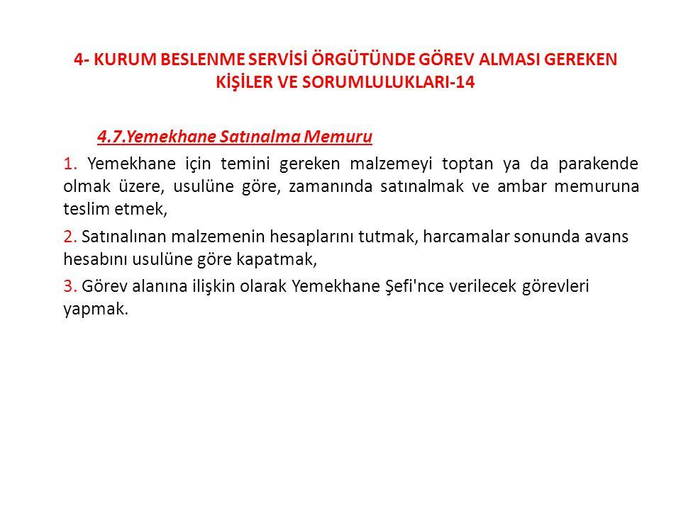 4- KURUM BESLENME SERVİSİ ÖRGÜTÜNDE GÖREV ALMASI GEREKEN KİŞİLER VE SORUMLULUKLARI-14 4.7.Yemekhane Satınalma Memuru 1. Yemekhane için temini gereken