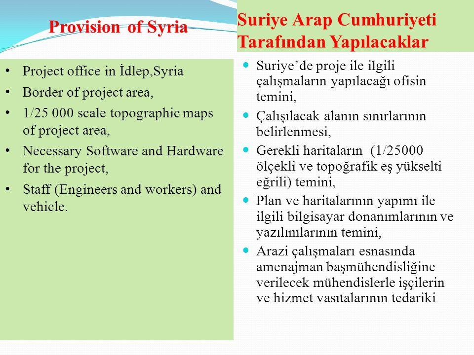 Suriye Arap Cumhuriyeti Tarafından Yapılacaklar  Suriye'de proje ile ilgili çalışmaların yapılacağı ofisin temini,  Çalışılacak alanın sınırlarının