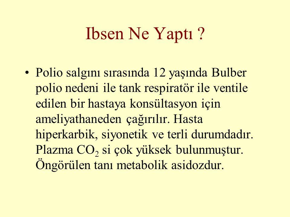 Ibsen Ne Yaptı ? •Polio salgını sırasında 12 yaşında Bulber polio nedeni ile tank respiratör ile ventile edilen bir hastaya konsültasyon için ameliyat
