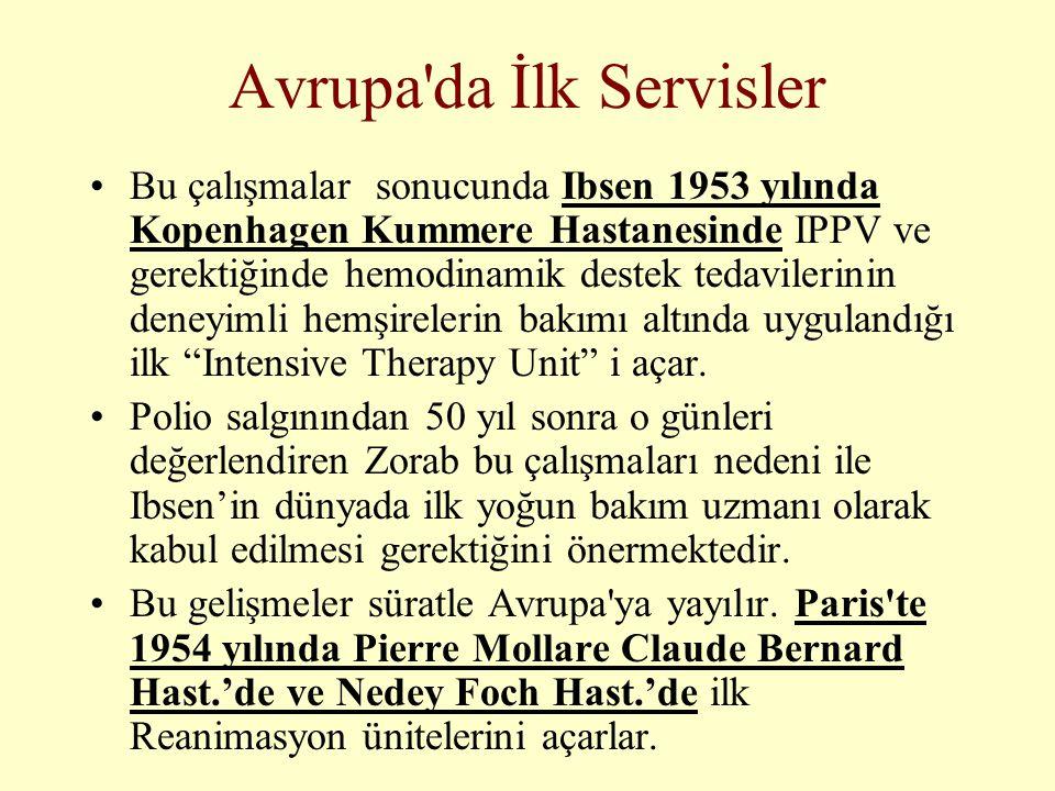 Avrupa'da İlk Servisler •Bu çalışmalar sonucunda Ibsen 1953 yılında Kopenhagen Kummere Hastanesinde IPPV ve gerektiğinde hemodinamik destek tedavileri
