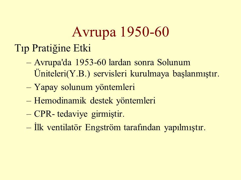 Avrupa 1950-60 Tıp Pratiğine Etki –Avrupa'da 1953-60 lardan sonra Solunum Üniteleri(Y.B.) servisleri kurulmaya başlanmıştır. –Yapay solunum yöntemleri
