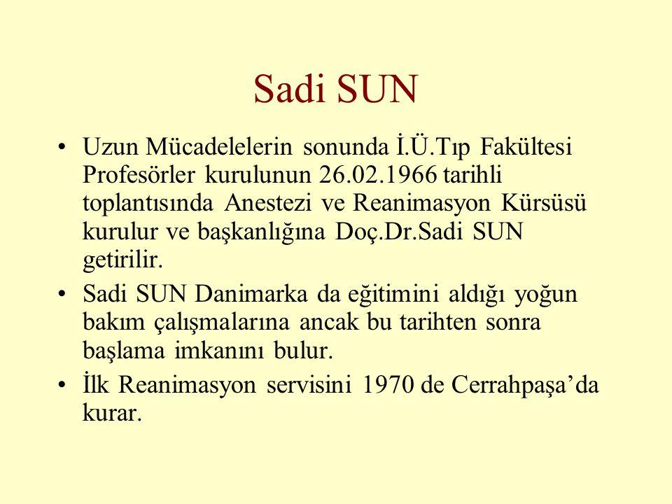 Sadi SUN •Uzun Mücadelelerin sonunda İ.Ü.Tıp Fakültesi Profesörler kurulunun 26.02.1966 tarihli toplantısında Anestezi ve Reanimasyon Kürsüsü kurulur
