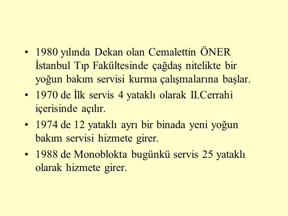 •1980 yılında Dekan olan Cemalettin ÖNER İstanbul Tıp Fakültesinde çağdaş nitelikte bir yoğun bakım servisi kurma çalışmalarına başlar. •1970 de İlk s