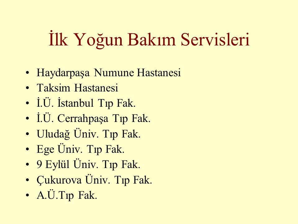 İlk Yoğun Bakım Servisleri •Haydarpaşa Numune Hastanesi •Taksim Hastanesi •İ.Ü. İstanbul Tıp Fak. •İ.Ü. Cerrahpaşa Tıp Fak. •Uludağ Üniv. Tıp Fak. •Eg