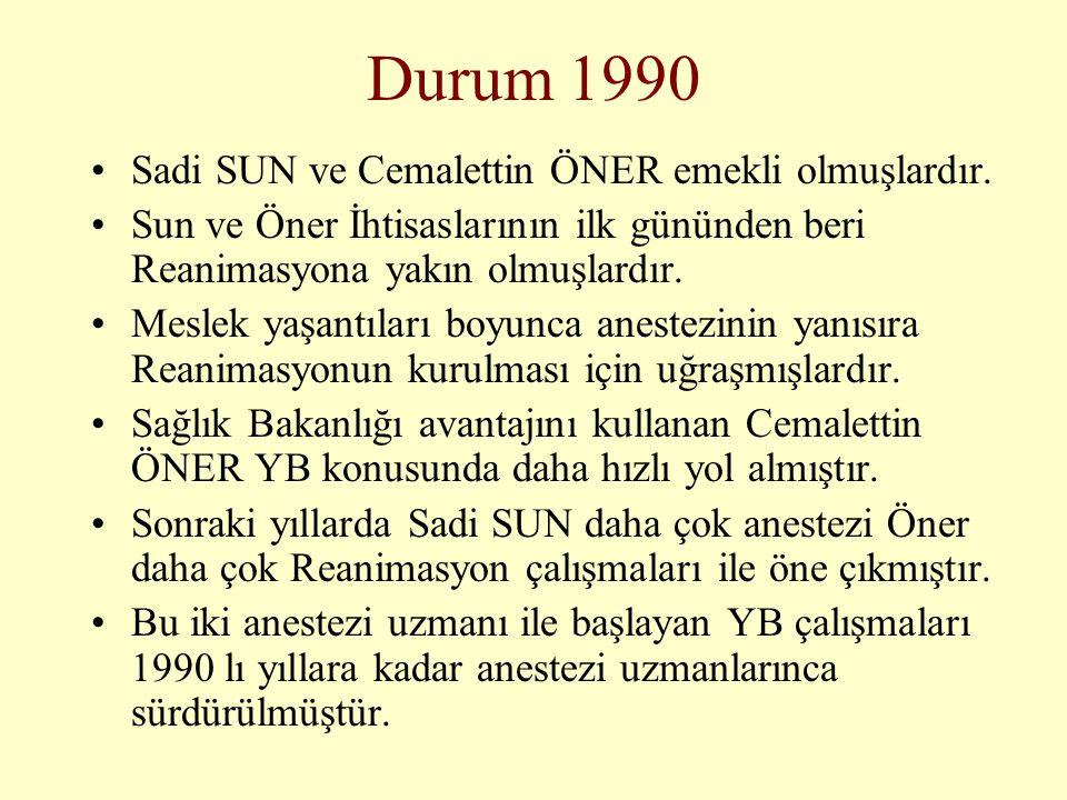 Durum 1990 •Sadi SUN ve Cemalettin ÖNER emekli olmuşlardır. •Sun ve Öner İhtisaslarının ilk gününden beri Reanimasyona yakın olmuşlardır. •Meslek yaşa