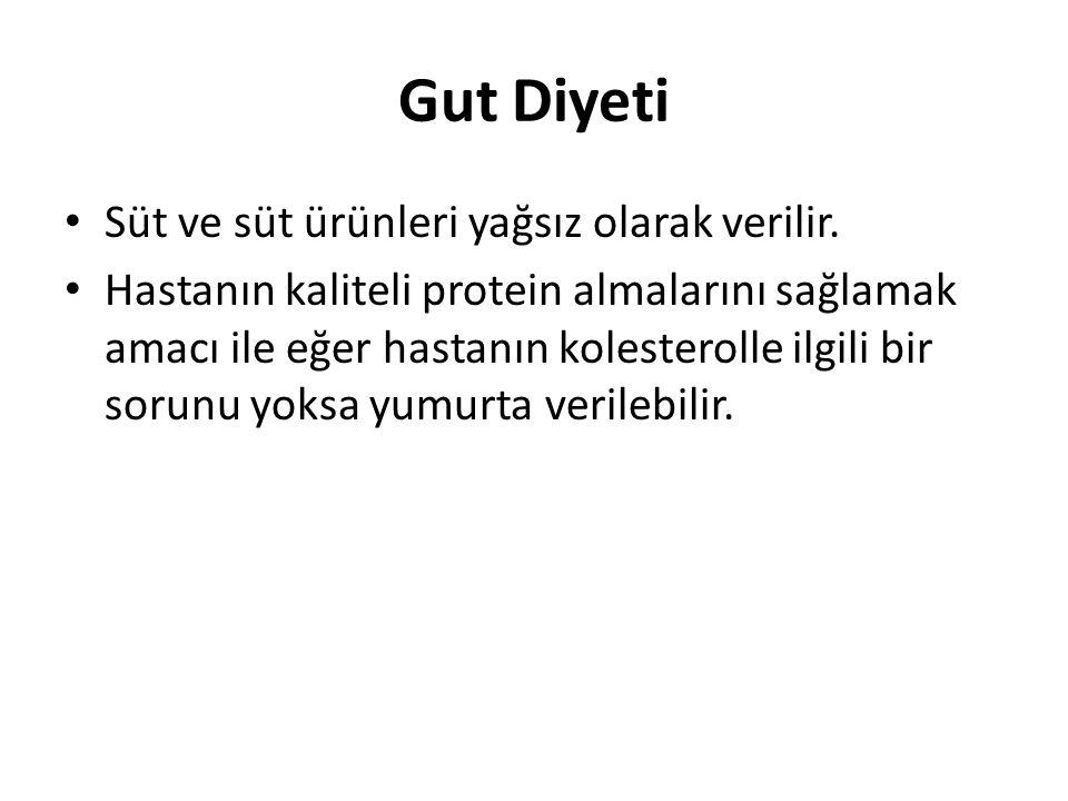 • Süt ve süt ürünleri yağsız olarak verilir. • Hastanın kaliteli protein almalarını sağlamak amacı ile eğer hastanın kolesterolle ilgili bir sorunu yo