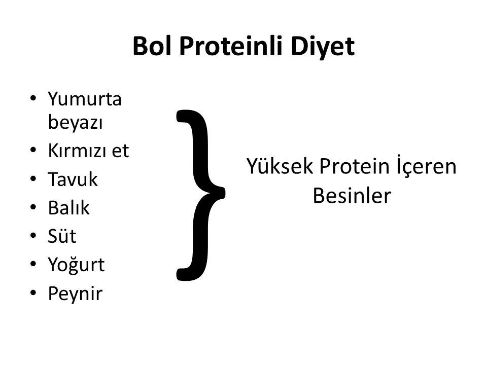 • Yumurta beyazı • Kırmızı et • Tavuk • Balık • Süt • Yoğurt • Peynir } Yüksek Protein İçeren Besinler Bol Proteinli Diyet