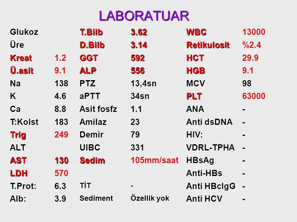 LABORATUAR Glukoz96T.Bilb3.62WBC13000 Üre18D.Bilb3.14Retikulosit%2.4 Kreat1.2GGT592HCT29.9 Ü.asit9.1ALP556HGB Na138PTZ13,4snMCV98 K4.6aPTT34snPLT63000