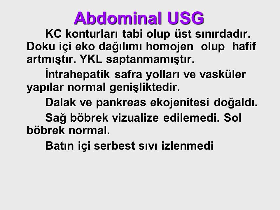 Abdominal USG KC konturları tabi olup üst sınırdadır. Doku içi eko dağılımı homojen olup hafif artmıştır. YKL saptanmamıştır. KC konturları tabi olup