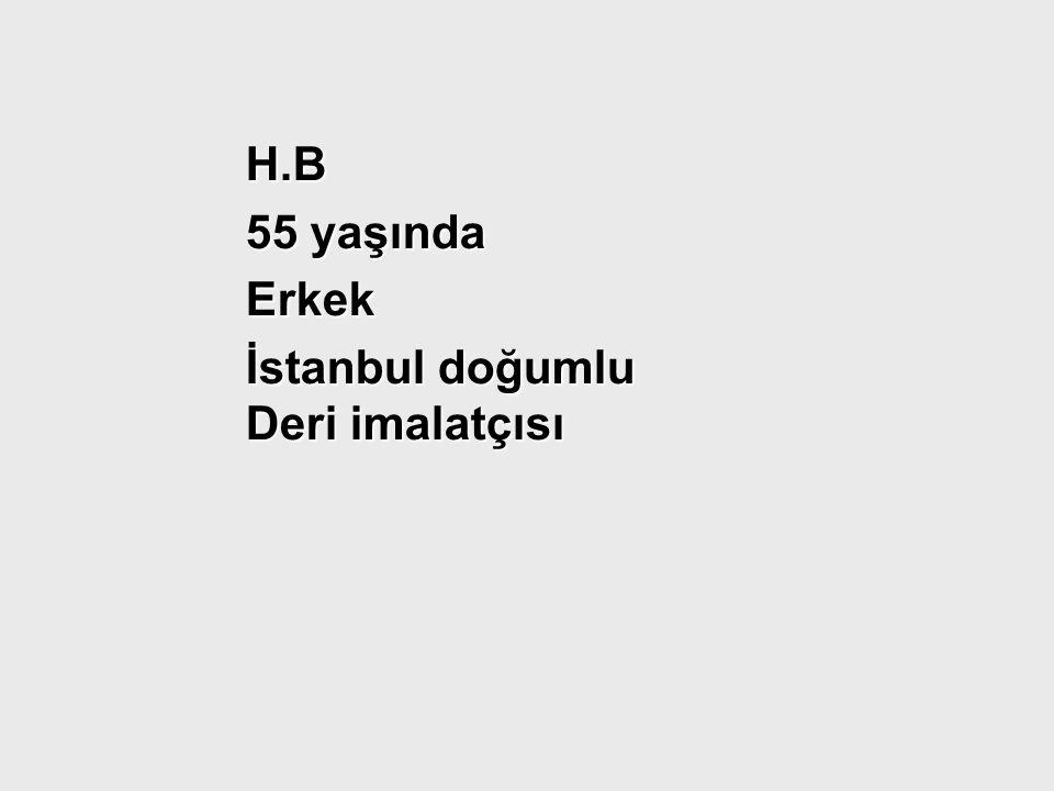 H.B H.B 55 yaşında 55 yaşında Erkek Erkek İstanbul doğumlu Deri imalatçısı İstanbul doğumlu Deri imalatçısı