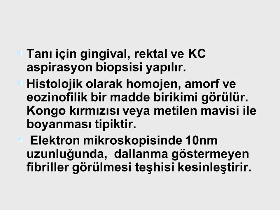  Tanı için gingival, rektal ve KC aspirasyon biopsisi yapılır.  Histolojik olarak homojen, amorf ve eozinofilik bir madde birikimi görülür. Kongo kı