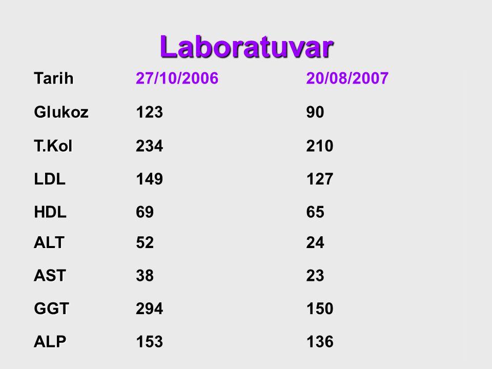Laboratuvar Tarih27/10/200620/08/2007 Glukoz12390 T.Kol234210 LDL149127 HDL6965 ALT5224 AST3823 GGT294150 ALP153136