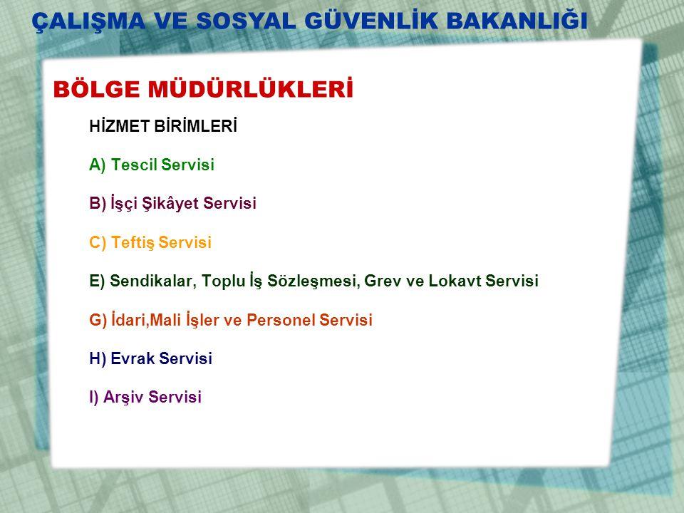 BÖLGE MÜDÜRLÜKLERİ HİZMET BİRİMLERİ A) Tescil Servisi B) İşçi Şikâyet Servisi C) Teftiş Servisi E) Sendikalar, Toplu İş Sözleşmesi, Grev ve Lokavt Ser