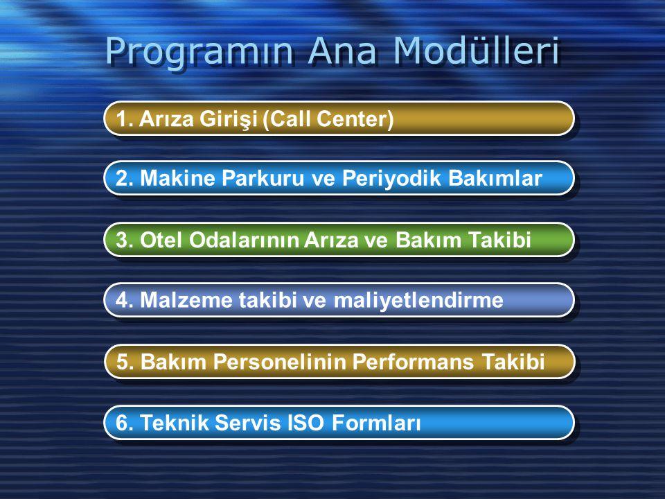 Programın Ana Modülleri 1. Arıza Girişi (Call Center) 2. Makine Parkuru ve Periyodik Bakımlar 3. Otel Odalarının Arıza ve Bakım Takibi 4. Malzeme taki