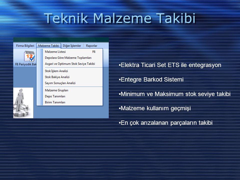 Teknik Malzeme Takibi •Elektra Ticari Set ETS ile entegrasyon •Entegre Barkod Sistemi •Minimum ve Maksimum stok seviye takibi •Malzeme kullanım geçmiş
