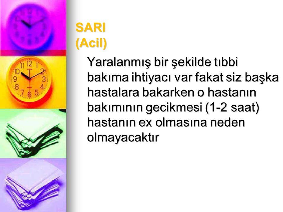 SARI (Acil) Yaralanmış bir şekilde tıbbi bakıma ihtiyacı var fakat siz başka hastalara bakarken o hastanın bakımının gecikmesi (1-2 saat) hastanın ex olmasına neden olmayacaktır