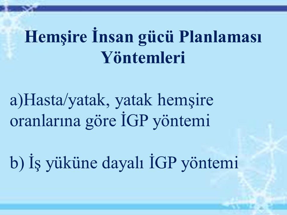 Hemşire İnsan gücü Planlaması Yöntemleri a)Hasta/yatak, yatak hemşire oranlarına göre İGP yöntemi b) İş yüküne dayalı İGP yöntemi