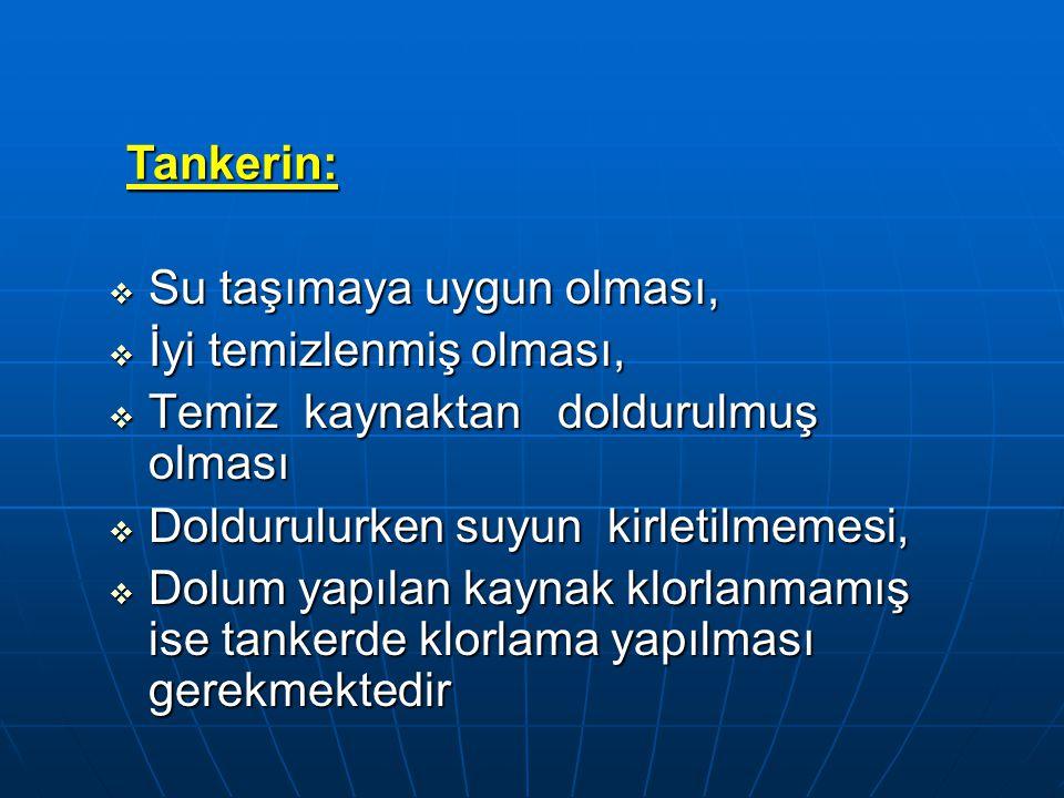 TANKER:  Dolum yapılan kaynak klorlanmamış ise Afet bölgesine girişte, tankerlerdeki suda kalıcı klor düzeyi mutlaka ölçülmeli ve klor içermeyen sular tankerde klorlandıktan (0.5 PPM –litrede 0.5 miligram serbest kalıcı olacak şekilde ) 30 dk.