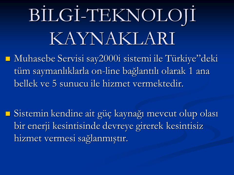 """BİLGİ-TEKNOLOJİ KAYNAKLARI  Muhasebe Servisi say2000i sistemi ile Türkiye""""deki tüm saymanlıklarla on-line bağlantılı olarak 1 ana bellek ve 5 sunucu"""
