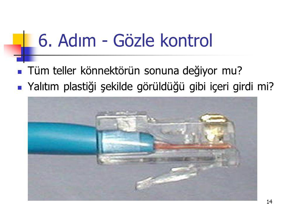 14 6.Adım - Gözle kontrol  Tüm teller könnektörün sonuna değiyor mu.