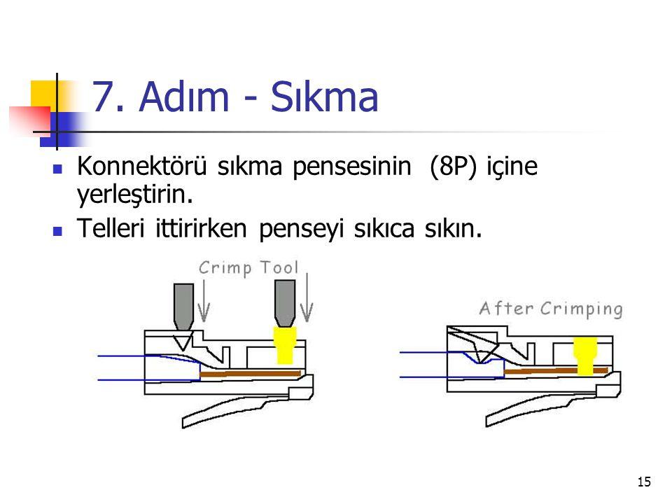 15 7.Adım - Sıkma  Konnektörü sıkma pensesinin (8P) içine yerleştirin.