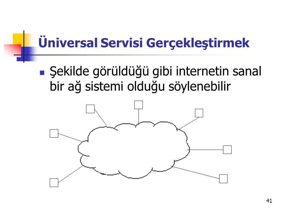 41 Üniversal Servisi Gerçekleştirmek  Şekilde görüldüğü gibi internetin sanal bir ağ sistemi olduğu söylenebilir