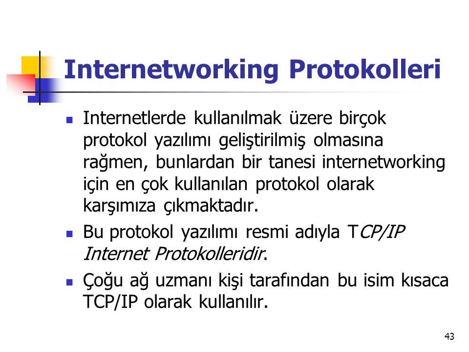 43 Internetworking Protokolleri  Internetlerde kullanılmak üzere birçok protokol yazılımı geliştirilmiş olmasına rağmen, bunlardan bir tanesi internetworking için en çok kullanılan protokol olarak karşımıza çıkmaktadır.