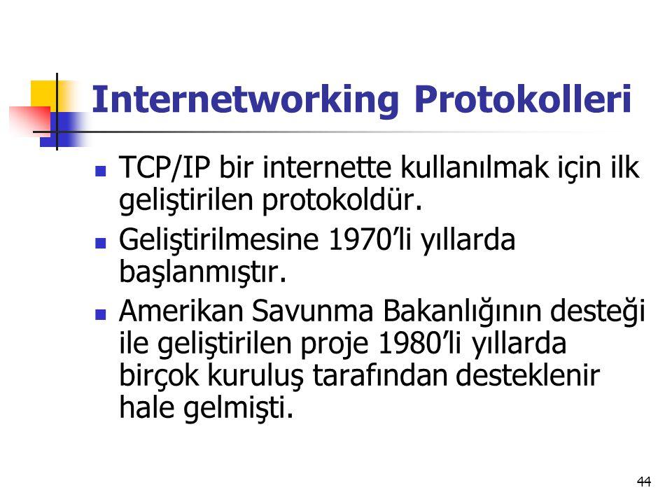 44 Internetworking Protokolleri  TCP/IP bir internette kullanılmak için ilk geliştirilen protokoldür.