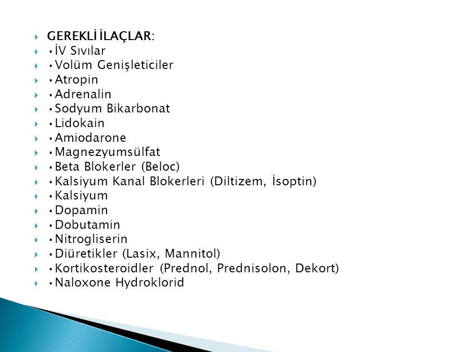  GEREKLİ İLAÇLAR:  •İV Sıvılar  •Volüm Genişleticiler  •Atropin  •Adrenalin  •Sodyum Bikarbonat  •Lidokain  •Amiodarone  •Magnezyumsülfat  •Beta Blokerler (Beloc)  •Kalsiyum Kanal Blokerleri (Diltizem, İsoptin)  •Kalsiyum  •Dopamin  •Dobutamin  •Nitrogliserin  •Diüretikler (Lasix, Mannitol)  •Kortikosteroidler (Prednol, Prednisolon, Dekort)  •Naloxone Hydroklorid