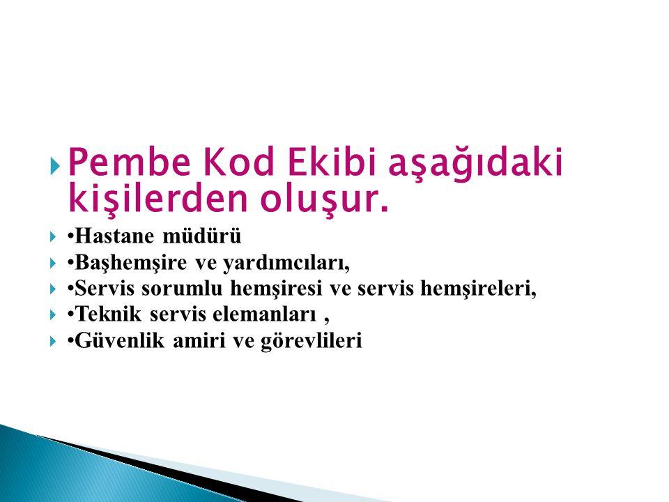  Pembe Kod Ekibi aşağıdaki kişilerden oluşur.  •Hastane müdürü  •Başhemşire ve yardımcıları,  •Servis sorumlu hemşiresi ve servis hemşireleri,  •