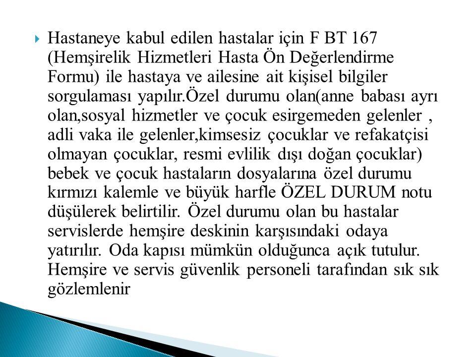 Hastaneye kabul edilen hastalar için F BT 167 (Hemşirelik Hizmetleri Hasta Ön Değerlendirme Formu) ile hastaya ve ailesine ait kişisel bilgiler sorg