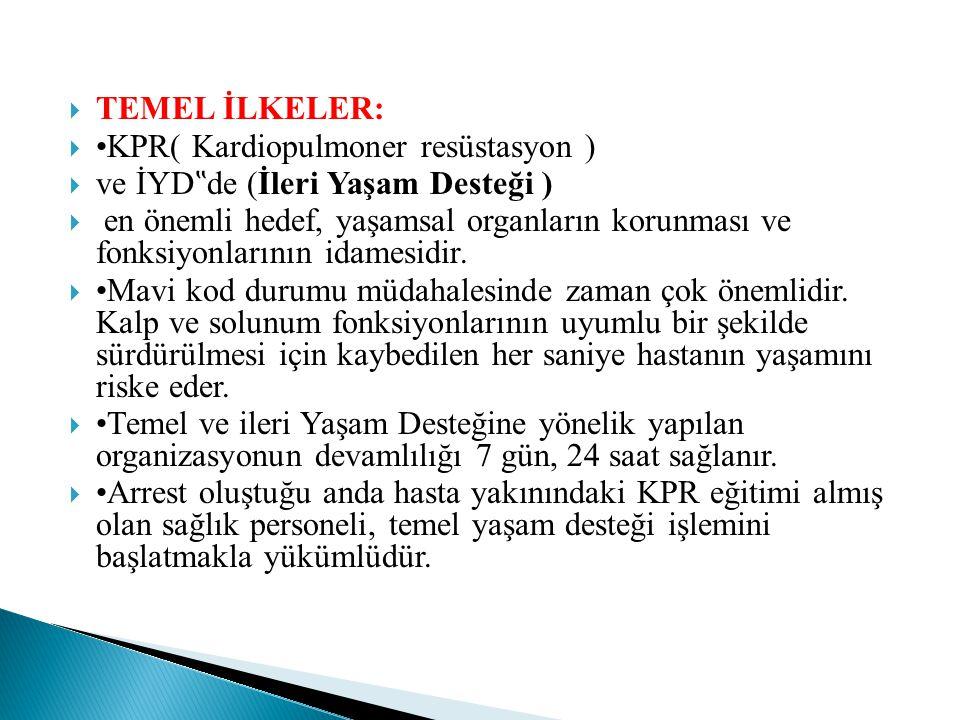 """ TEMEL İLKELER:  •KPR( Kardiopulmoner resüstasyon )  ve İYD """" de (İleri Yaşam Desteği )  en önemli hedef, yaşamsal organların korunması ve fonksiyonlarının idamesidir."""