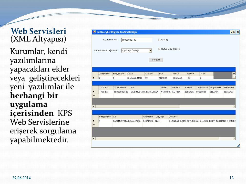 Kurumlar, kendi yazılımlarına yapacakları ekler veya geliştirecekleri yeni yazılımlar ile herhangi bir uygulama içerisinden KPS Web Servislerine erişe