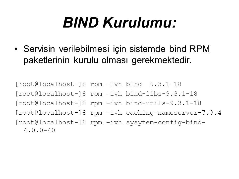 BIND Kurulumu: •Servisin verilebilmesi için sistemde bind RPM paketlerinin kurulu olması gerekmektedir. [root@localhost-]8 rpm –ivh bind- 9.3.1-18 [ro