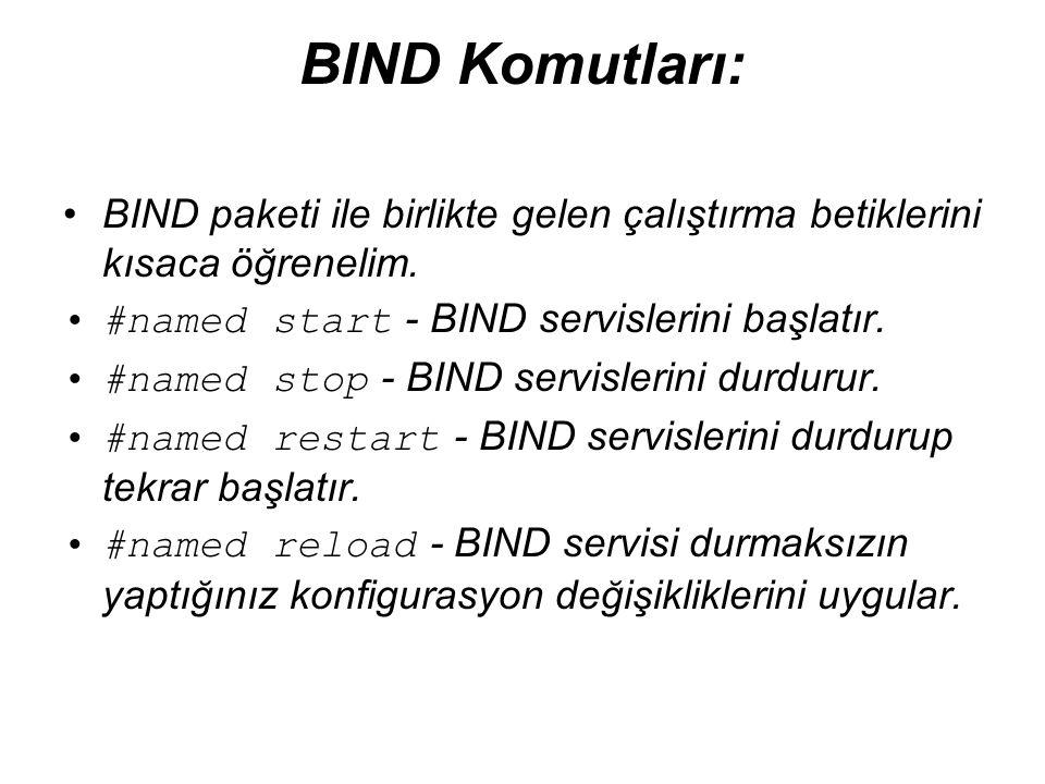 BIND Komutları: •BIND paketi ile birlikte gelen çalıştırma betiklerini kısaca öğrenelim. •#named start - BIND servislerini başlatır. •#named stop - BI