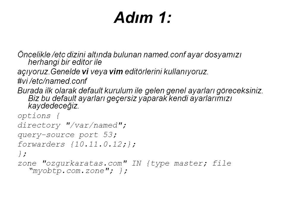 Adım 1: Öncelikle /etc dizini altında bulunan named.conf ayar dosyamızı herhangi bir editor ile açıyoruz.Genelde vi veya vim editörlerini kullanıyoruz