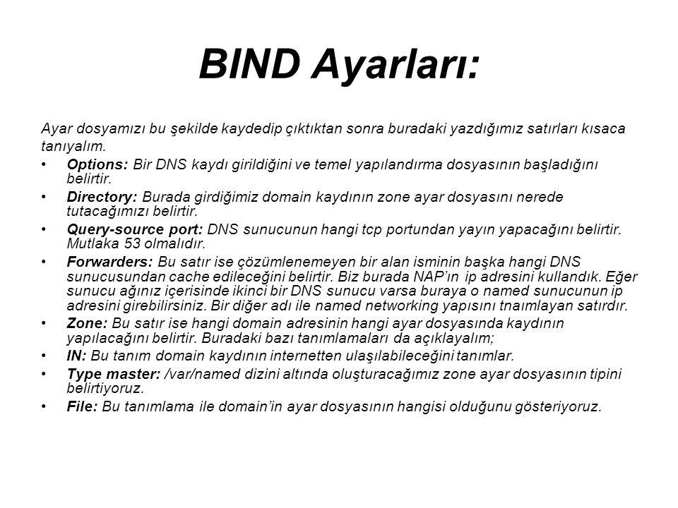BIND Ayarları: Ayar dosyamızı bu şekilde kaydedip çıktıktan sonra buradaki yazdığımız satırları kısaca tanıyalım. •Options: Bir DNS kaydı girildiğini