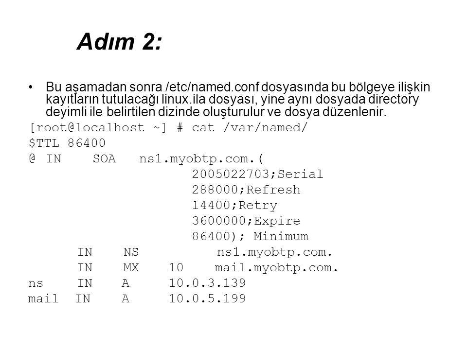 •Bu aşamadan sonra /etc/named.conf dosyasında bu bölgeye ilişkin kayıtların tutulacağı linux.ila dosyası, yine aynı dosyada directory deyimli ile beli