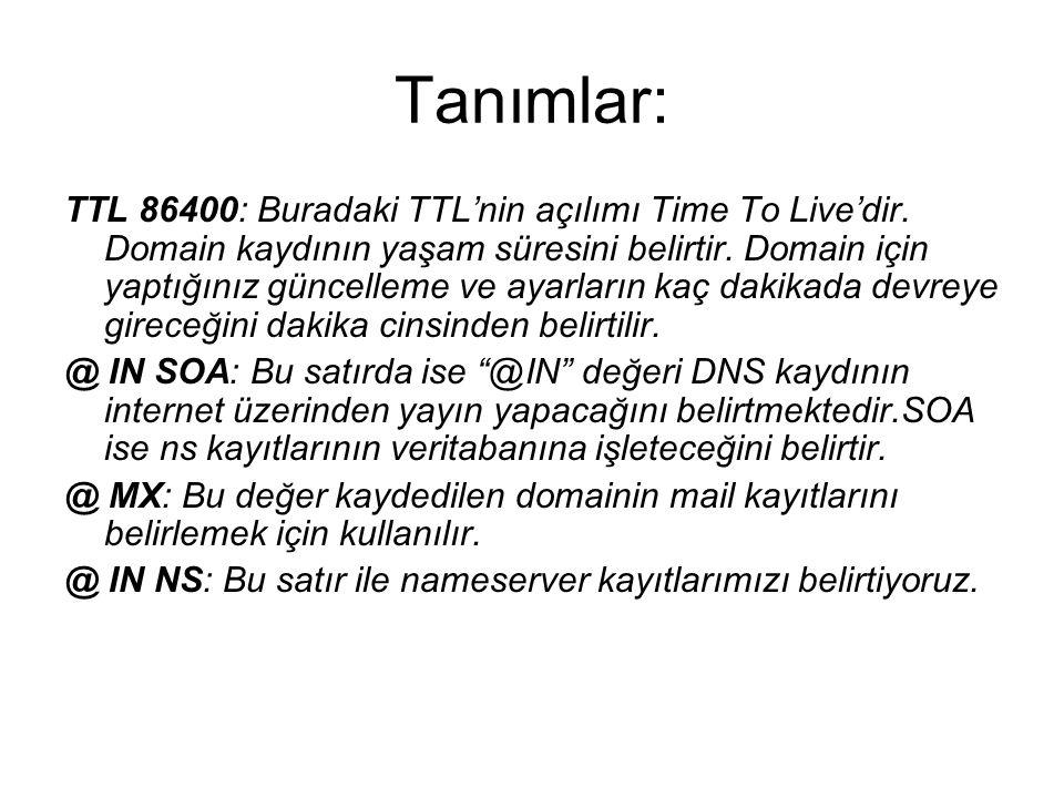 Tanımlar: TTL 86400: Buradaki TTL'nin açılımı Time To Live'dir. Domain kaydının yaşam süresini belirtir. Domain için yaptığınız güncelleme ve ayarları