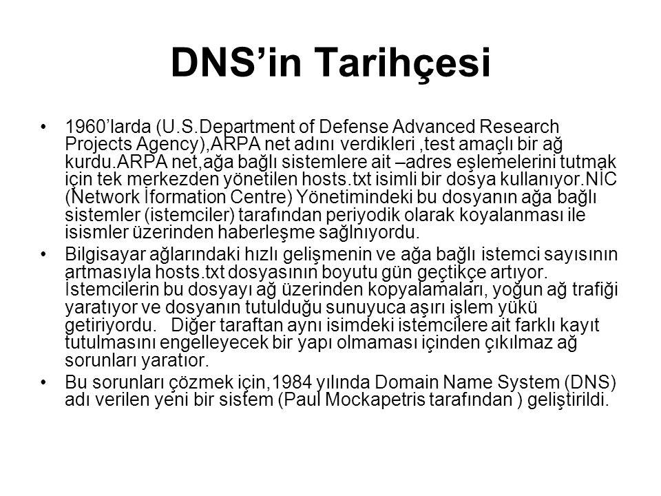 DNS'in Tarihçesi •1960'larda (U.S.Department of Defense Advanced Research Projects Agency),ARPA net adını verdikleri,test amaçlı bir ağ kurdu.ARPA net