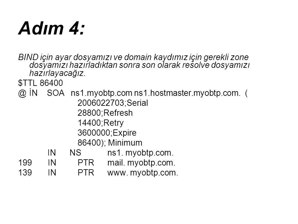 Adım 4: BIND için ayar dosyamızı ve domain kaydımız için gerekli zone dosyamızı hazırladıktan sonra son olarak resolve dosyamızı hazırlayacağız. $TTL