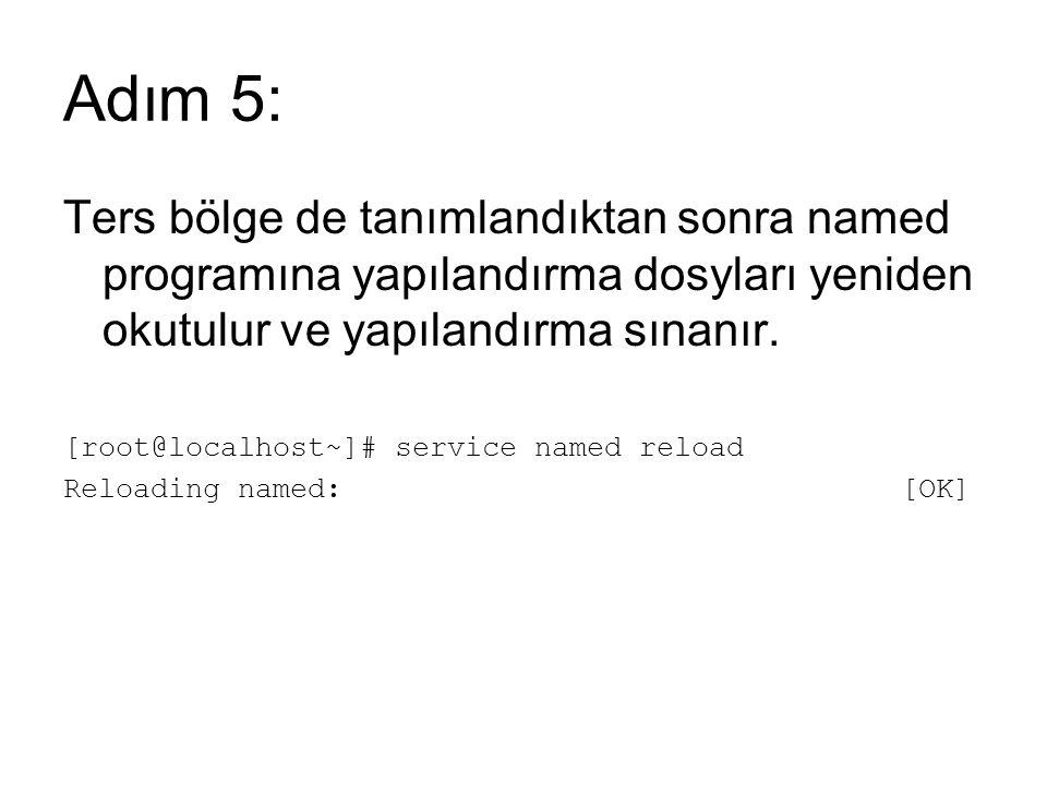 Adım 5: Ters bölge de tanımlandıktan sonra named programına yapılandırma dosyları yeniden okutulur ve yapılandırma sınanır. [root@localhost~]# service