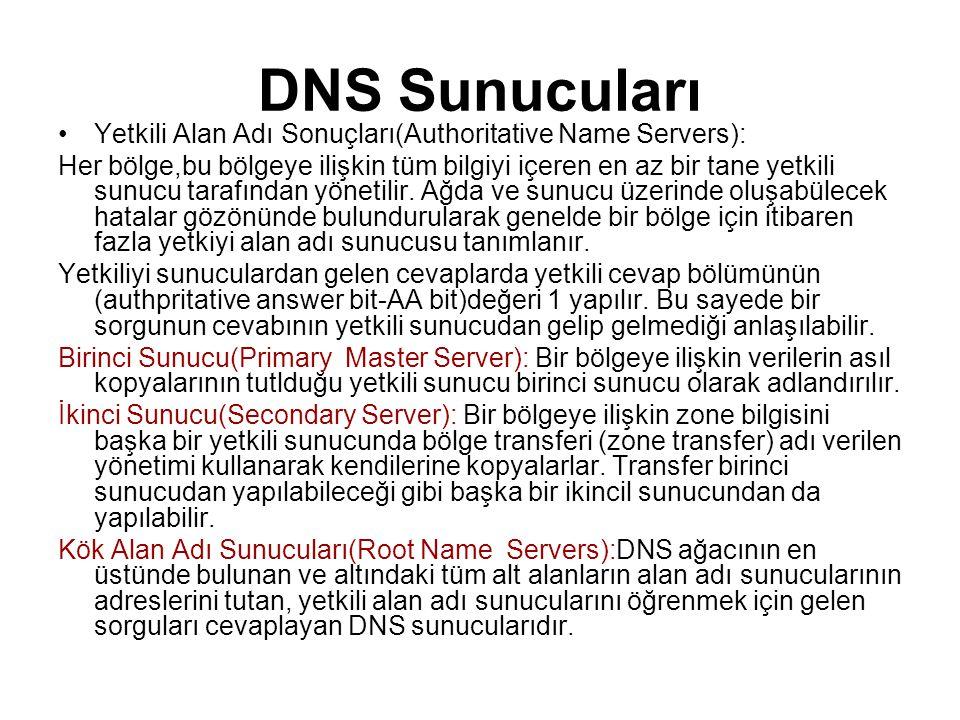 DNS Sunucuları •Yetkili Alan Adı Sonuçları(Authoritative Name Servers): Her bölge,bu bölgeye ilişkin tüm bilgiyi içeren en az bir tane yetkili sunucu